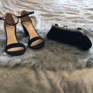 Black Velvet Handbag & Matching Heeled Sandals